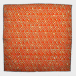 Teardrops & Squares Reversible Panama Silk Pocket Square in Orange