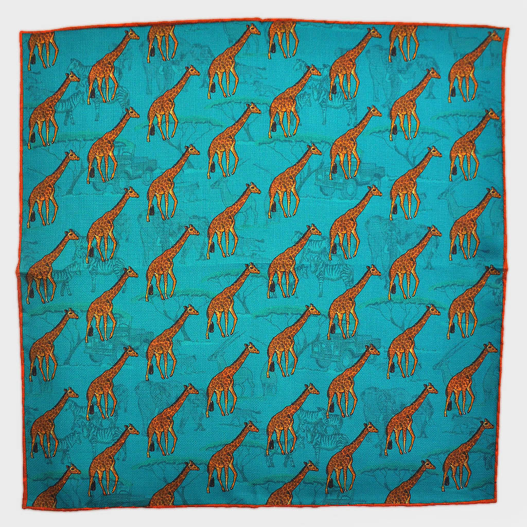 Giraffe & Safari Reversible Panama Silk Pocket Square in Teal