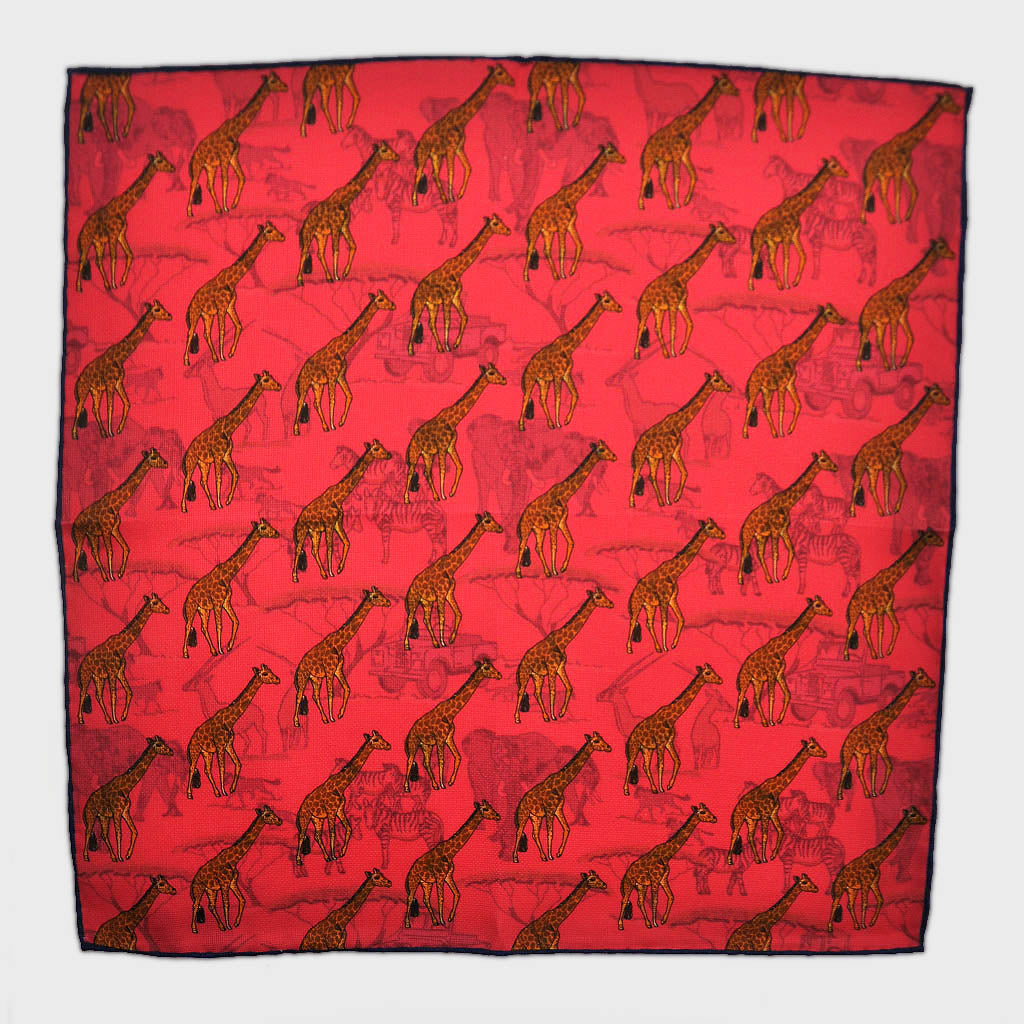 Giraffe & Safari Reversible Panama Silk Pocket Square in Hot Pink