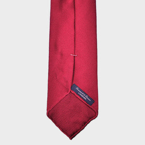 Hand Rolled Woven Silk Tie in Red