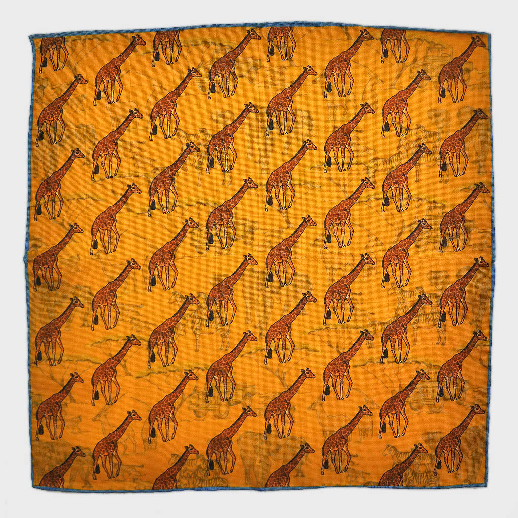 Giraffe & Safari Reversible Panama Silk Pocket Square in Antique Gold