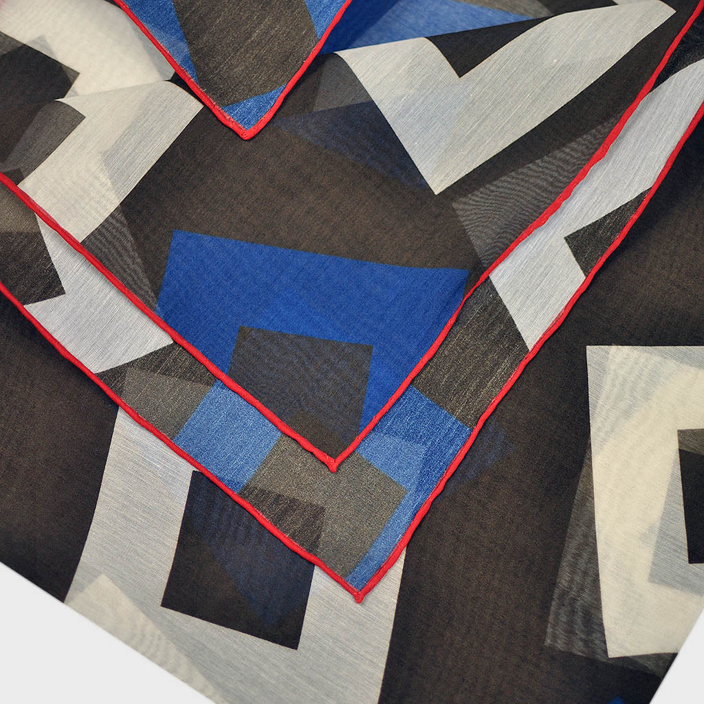 Geometric Medley Bandana in Brown & Royal Blue