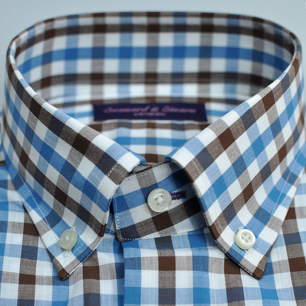 Gingham Button Down Shirt in Blue & Brown