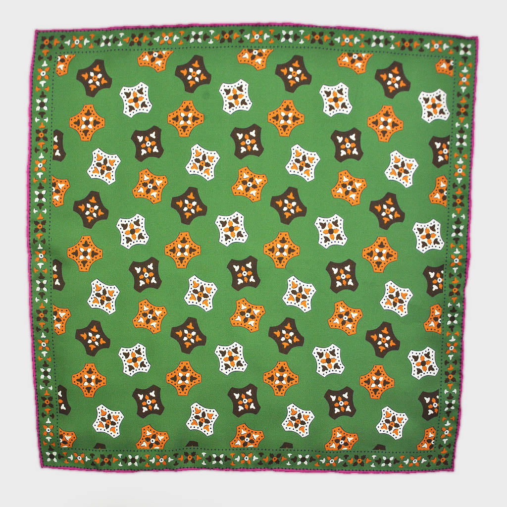 Florets English Silk Pocket Square in Lime