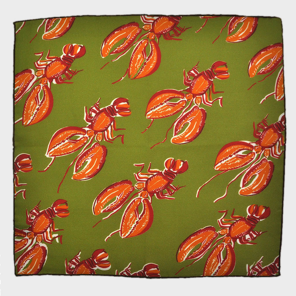 Lobster English Silk Pocket Square in Pickle Green