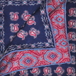 Navy Paisley & Floret Reversible Panama Silk Pocket Square