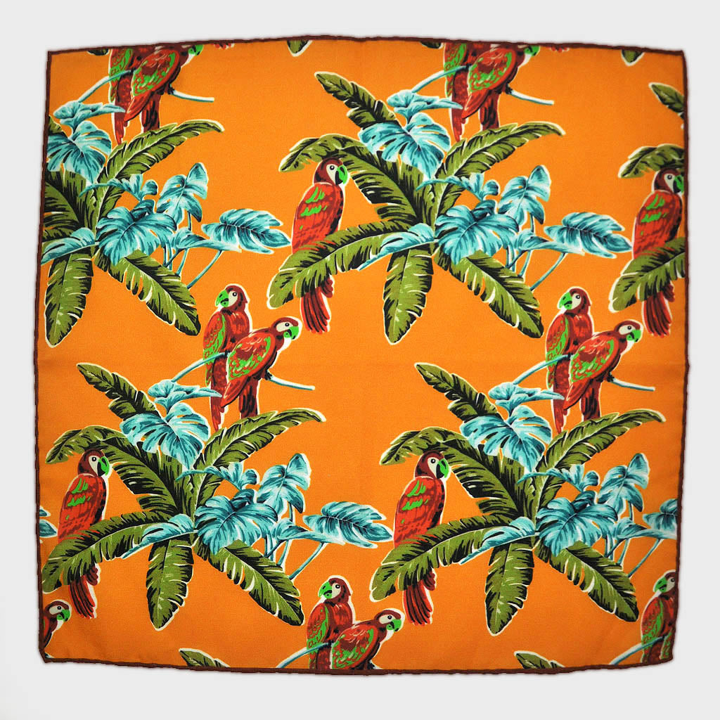 Macaw English Silk Pocket Square in Antique Gold