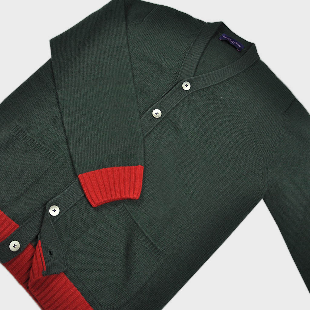 Funky Chunky Old School Wool Cardi in Green & Red