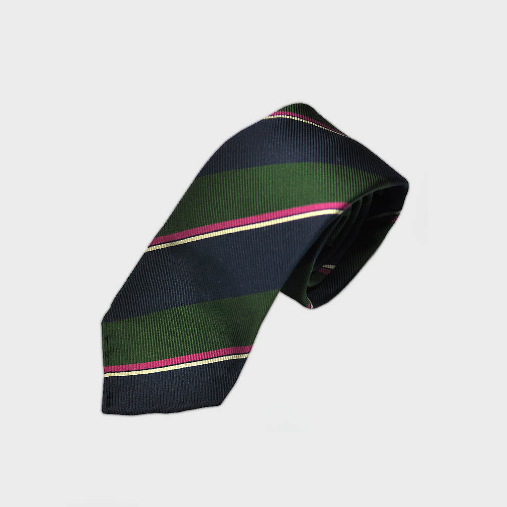 Blocks & Stripes Hand Rolled Woven Silk Tie in Navy, Green & Pink