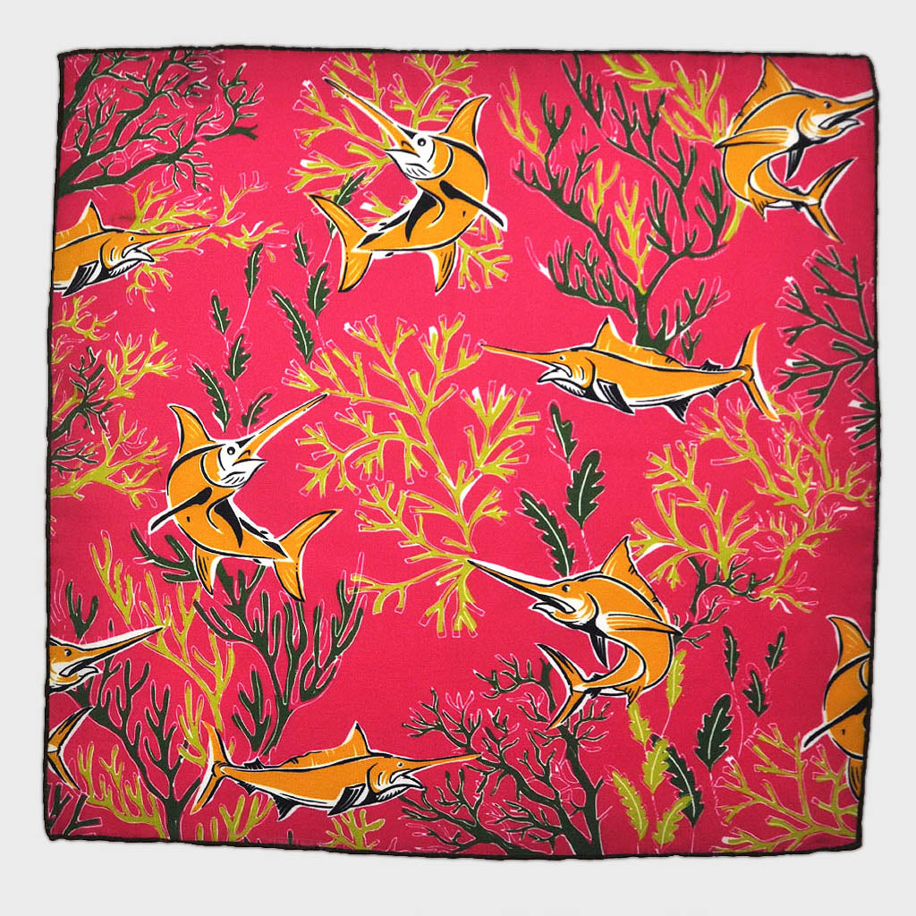 Marlin English Silk Pocket Square in Hot Pink & Gold