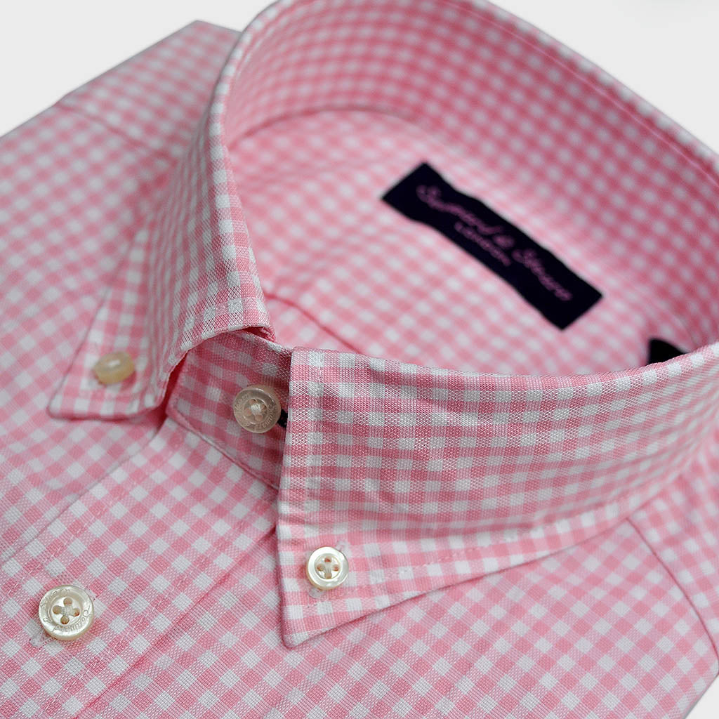 Gingham Button Down Shirt in Pink