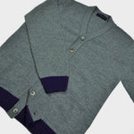 Funky Chunky Old School Wool Cardi in Grey & Blue