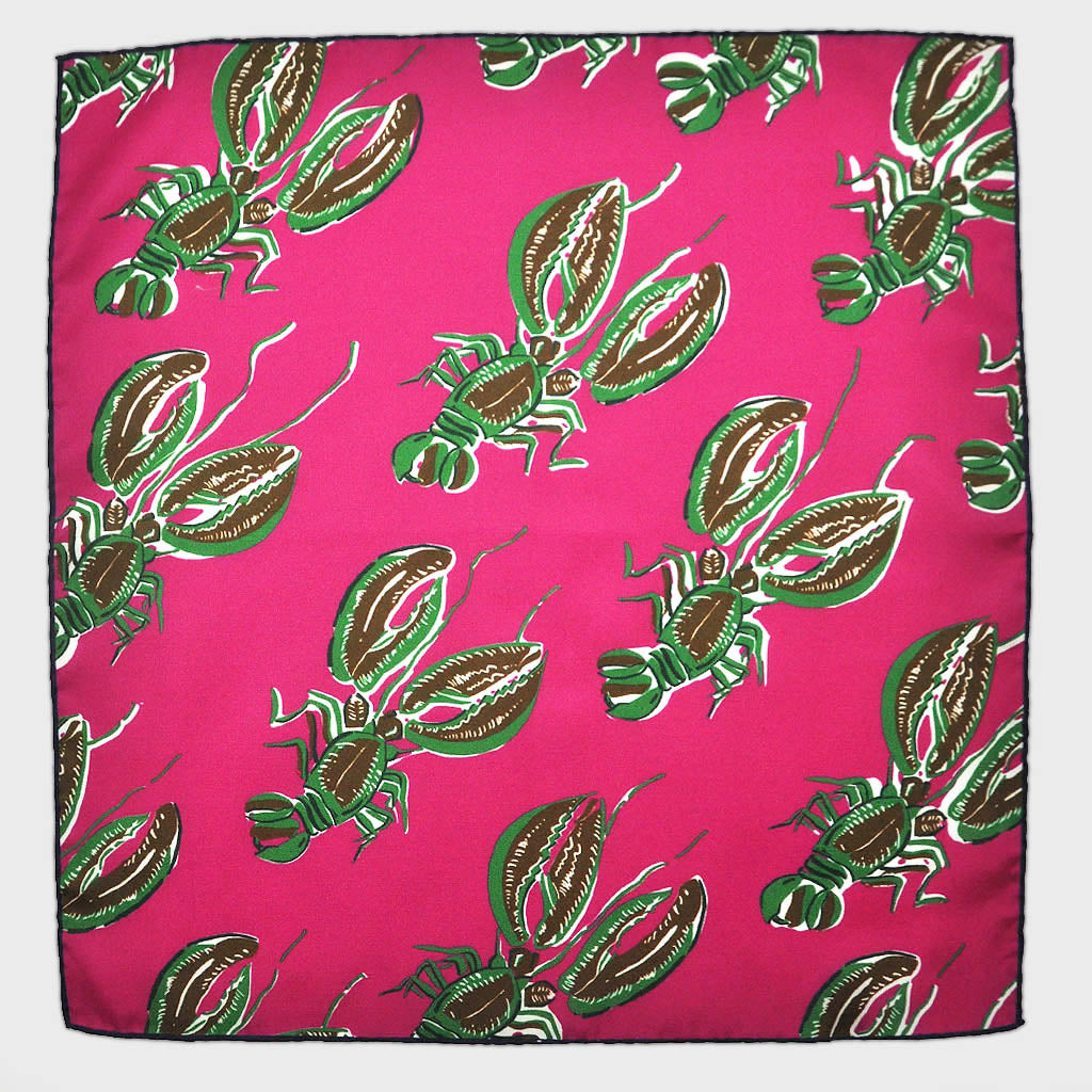 Lobster English Silk Pocket Square in Hot Pink
