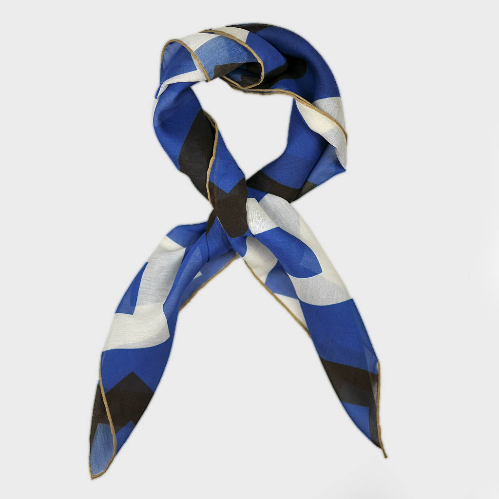 Geometric Medley Bandana in Royal Blue & Brown