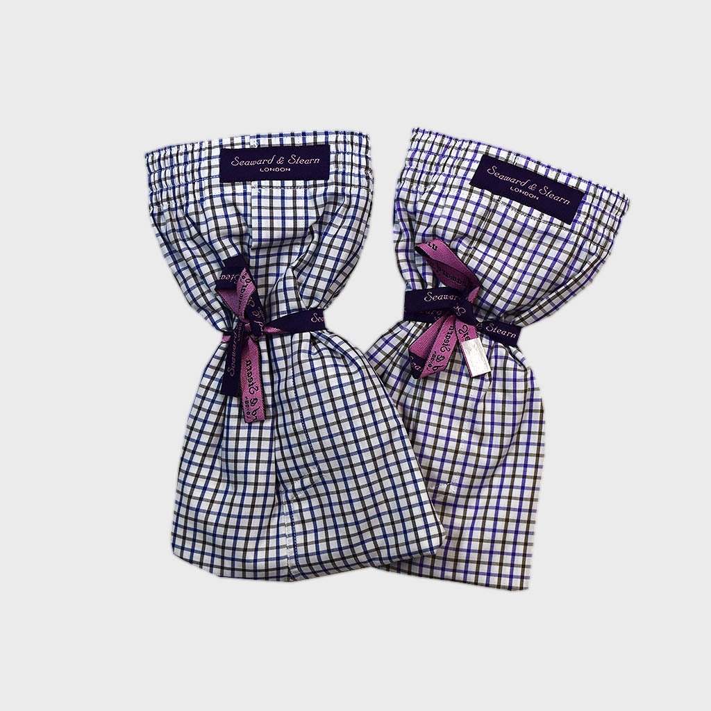 Size L Double Brush Cotton Boxer Short in Purple & Blue Checks