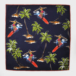 Surf's Up! English Silk Pocket Square in Navy
