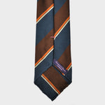 Blocks & Stripes Hand Rolled Woven Silk Tie in Blue, Brown & Orange