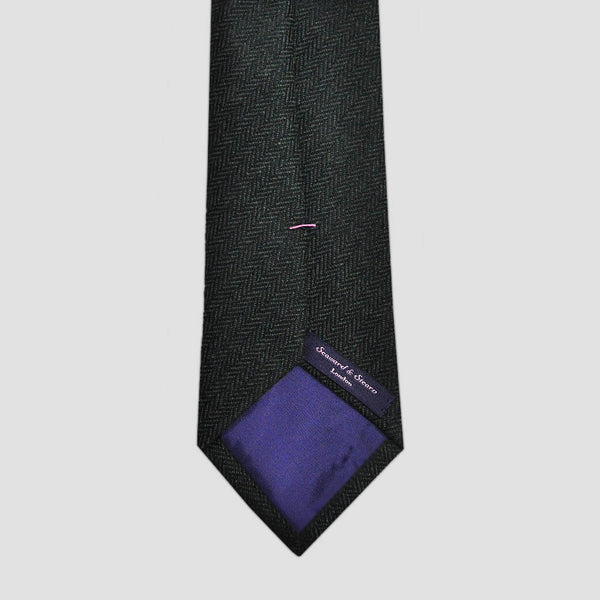 Herring Bone Bottle Green Wool Tie