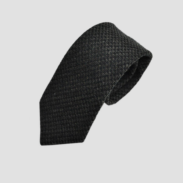 Textured Hatch Brown Wool Tie