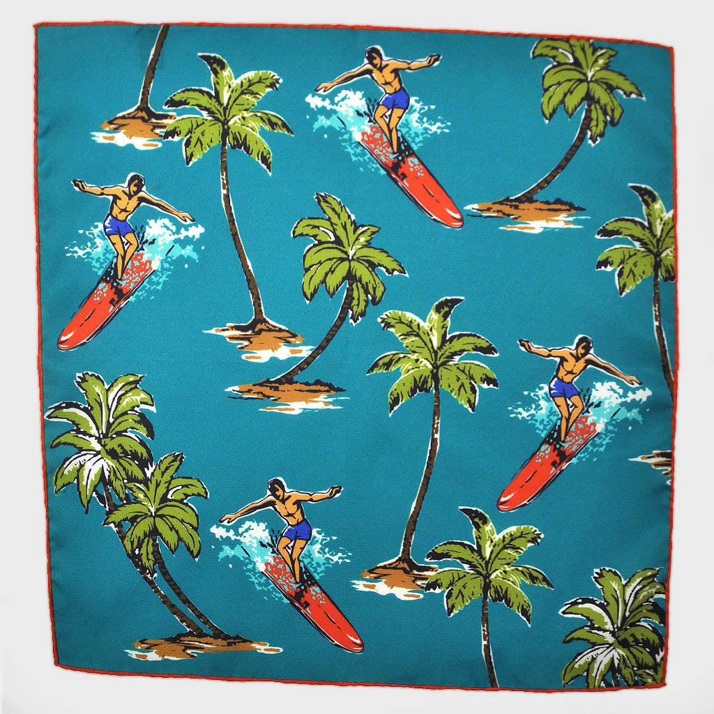 Surf's Up! English Silk Pocket Square in Teal