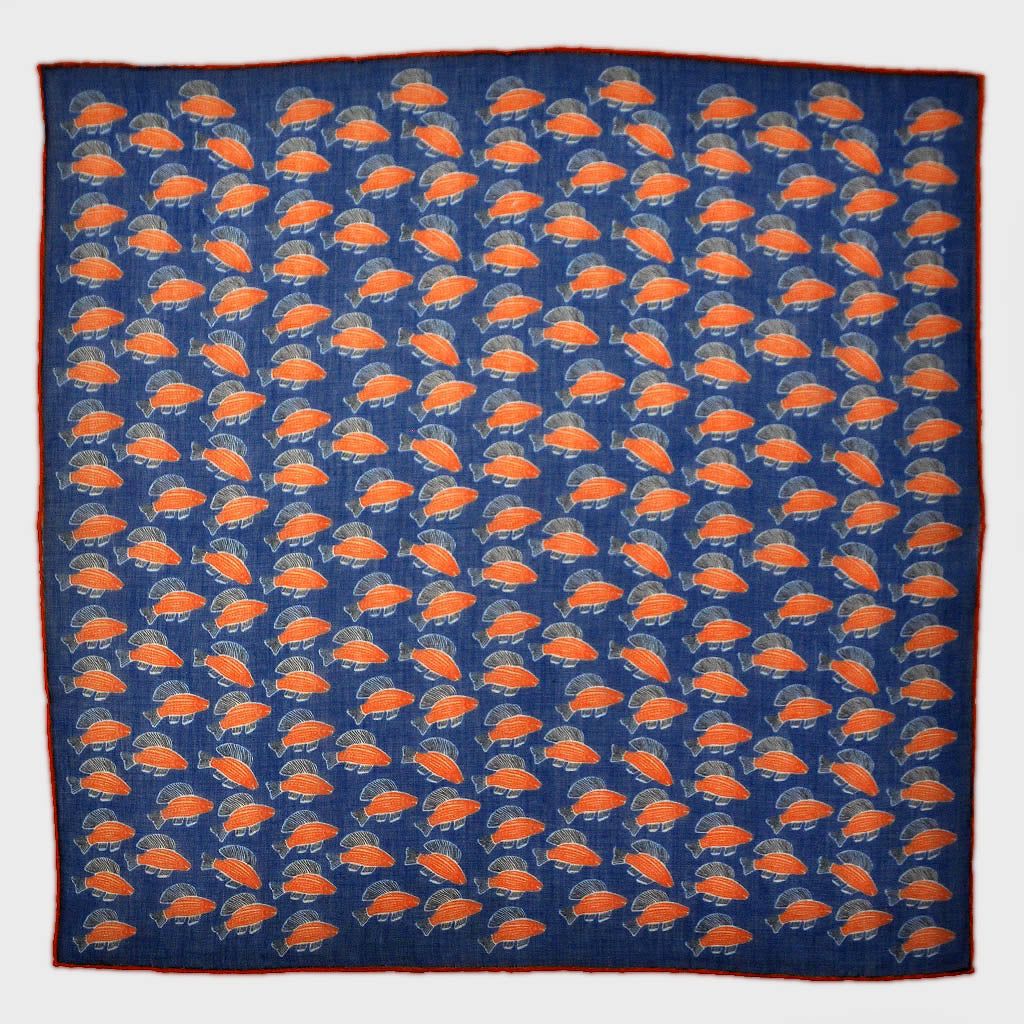 A Lot of Fish Cotton & Cashmere Pocket Square in Royal Blue & Orange