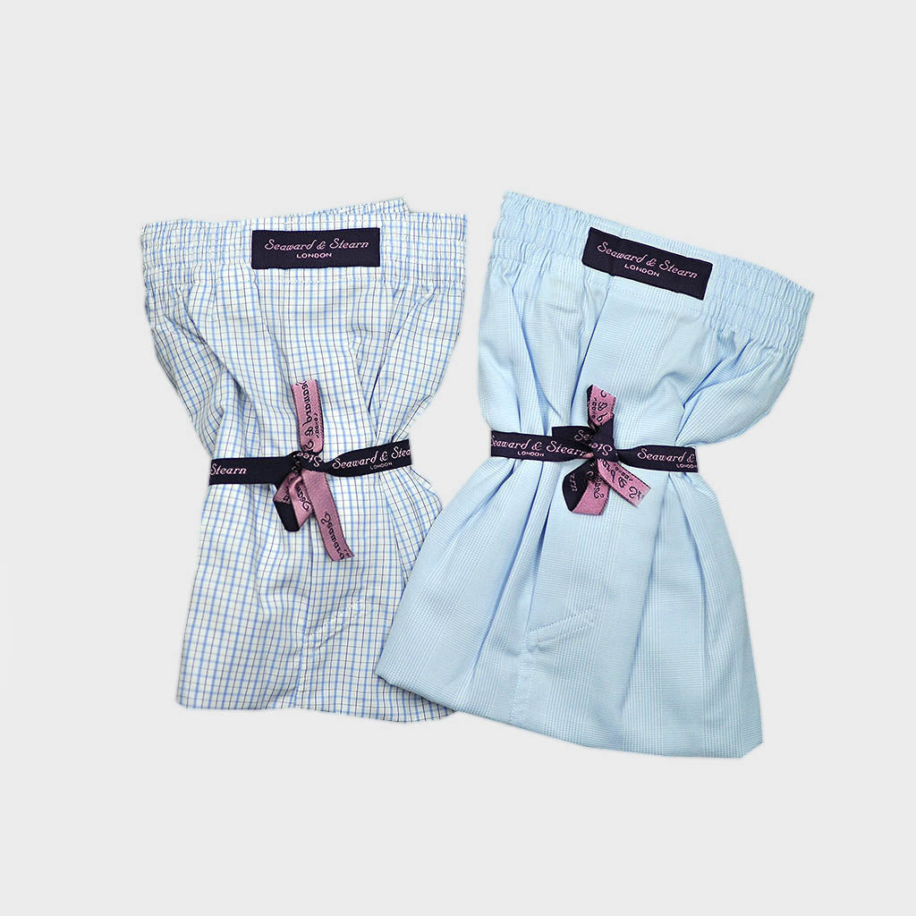 XXL Double Cotton Boxer Short Bundle Pale Blues Checks