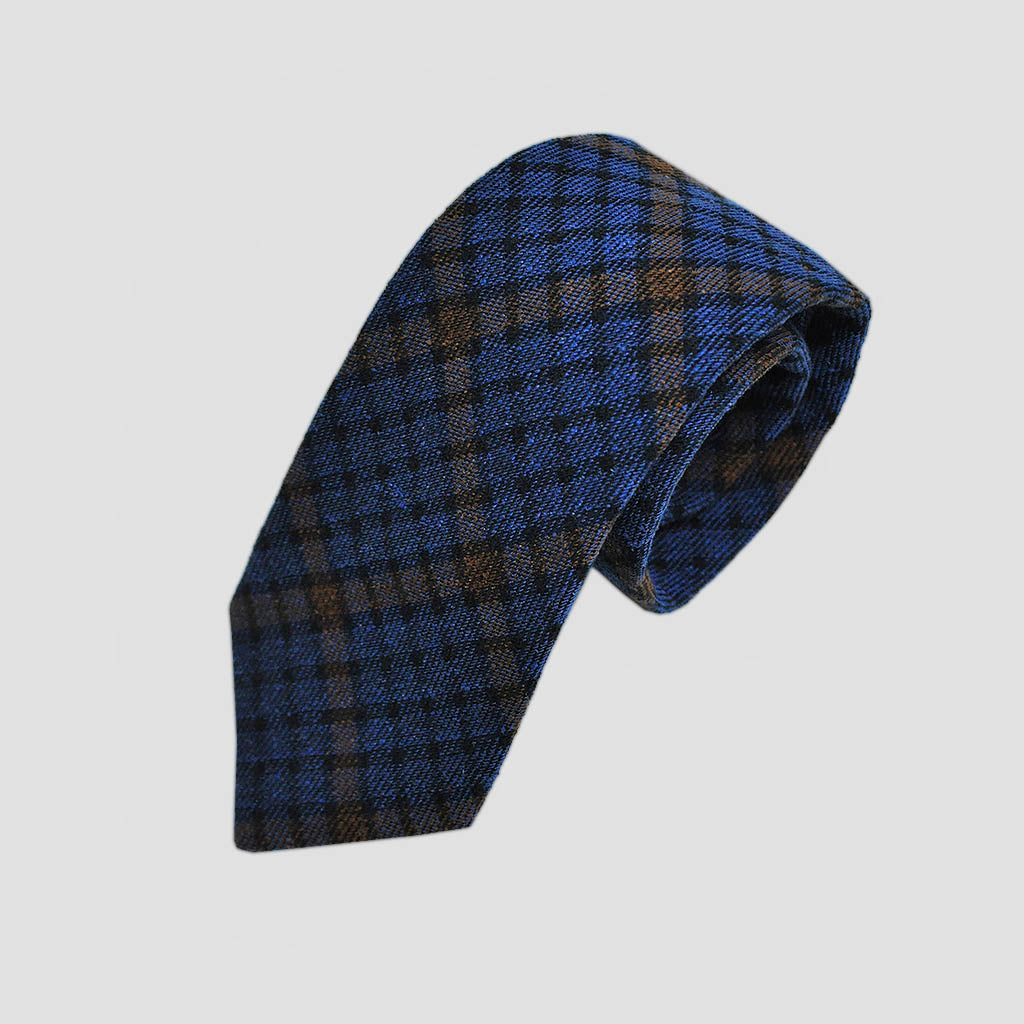 Seasonal Plaid Blues Wool Tie