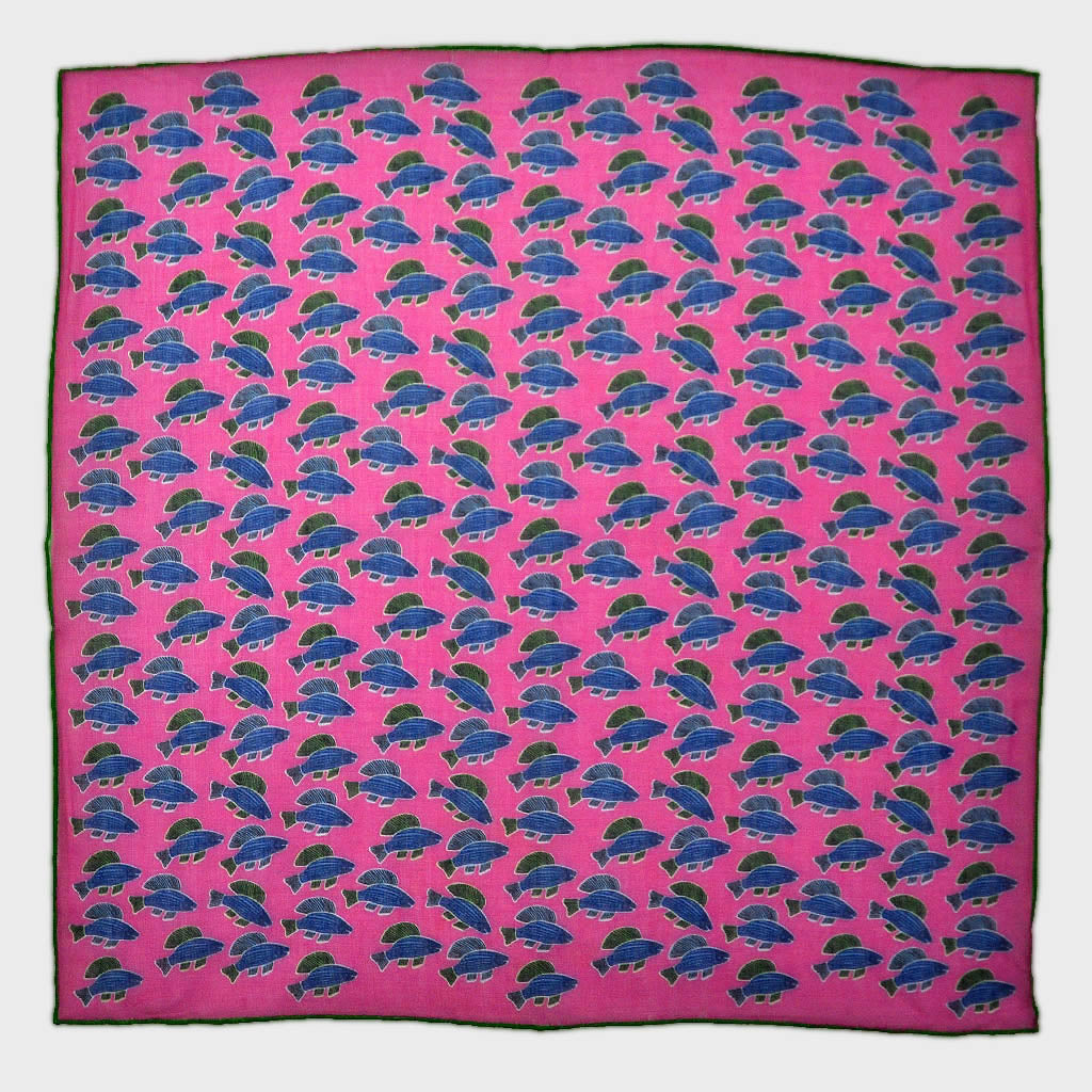 A Lot of Fish Cotton & Cashmere Pocket Square in Pink & Blue