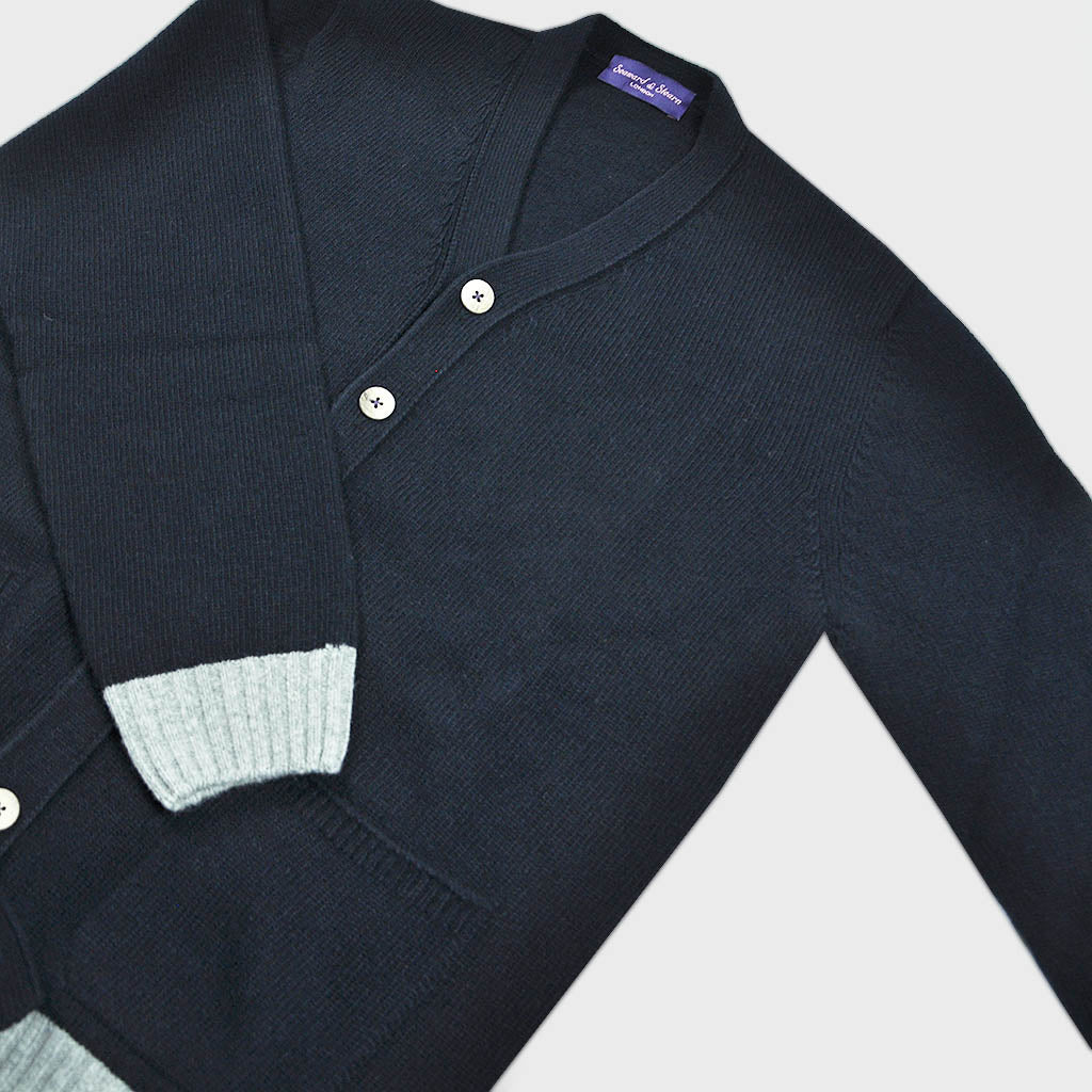 Funky Chunky Old School Wool Cardi in Midnight Blue & Grey
