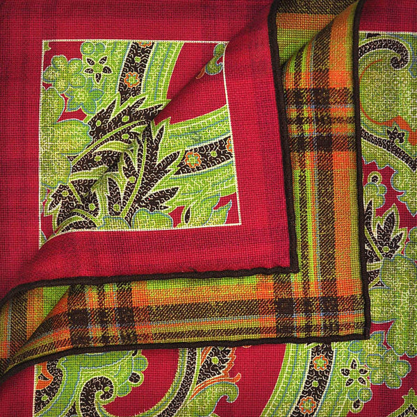Red Paisley & Plaid Reversible Panama Silk Pocket Square