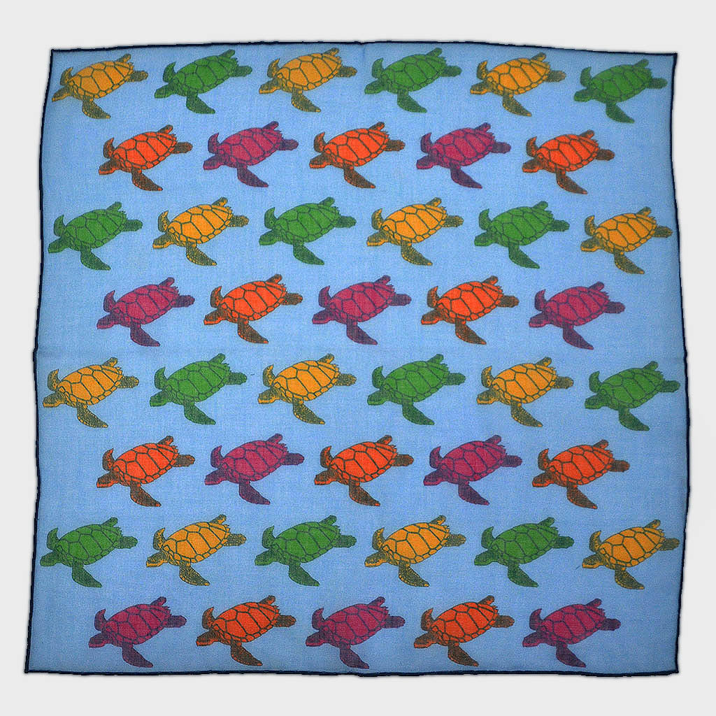 A Few Turtles Cotton & Cashmere Pocket Square in Ocean Blue