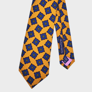 English Madder Medallion Silk Tie in Gold & Blue