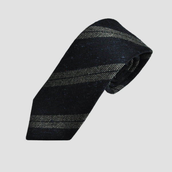 Grey Stripes Slub Wool Tie