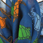 A Few Turtles Cotton & Cashmere Pocket Square in Prussian Blue
