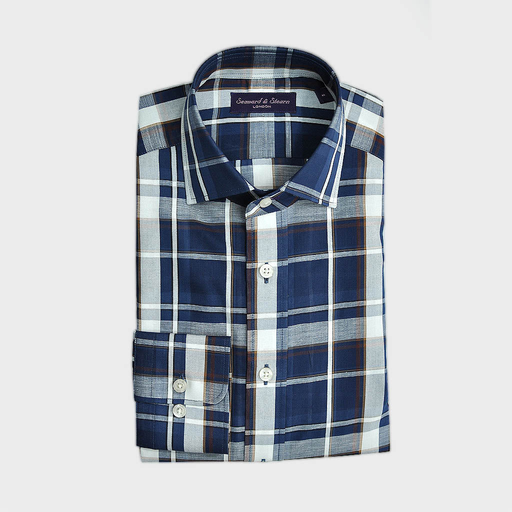 Classic Collar Plaid Fine Cotton & Linen Blend Shirt in Blues, Browns & White
