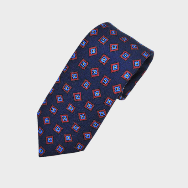 English Madder Diamond Florets Silk Tie