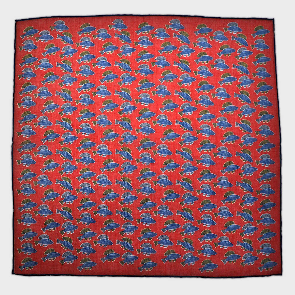 A Lot of Fish Cotton & Cashmere Pocket Square in Red & Blue