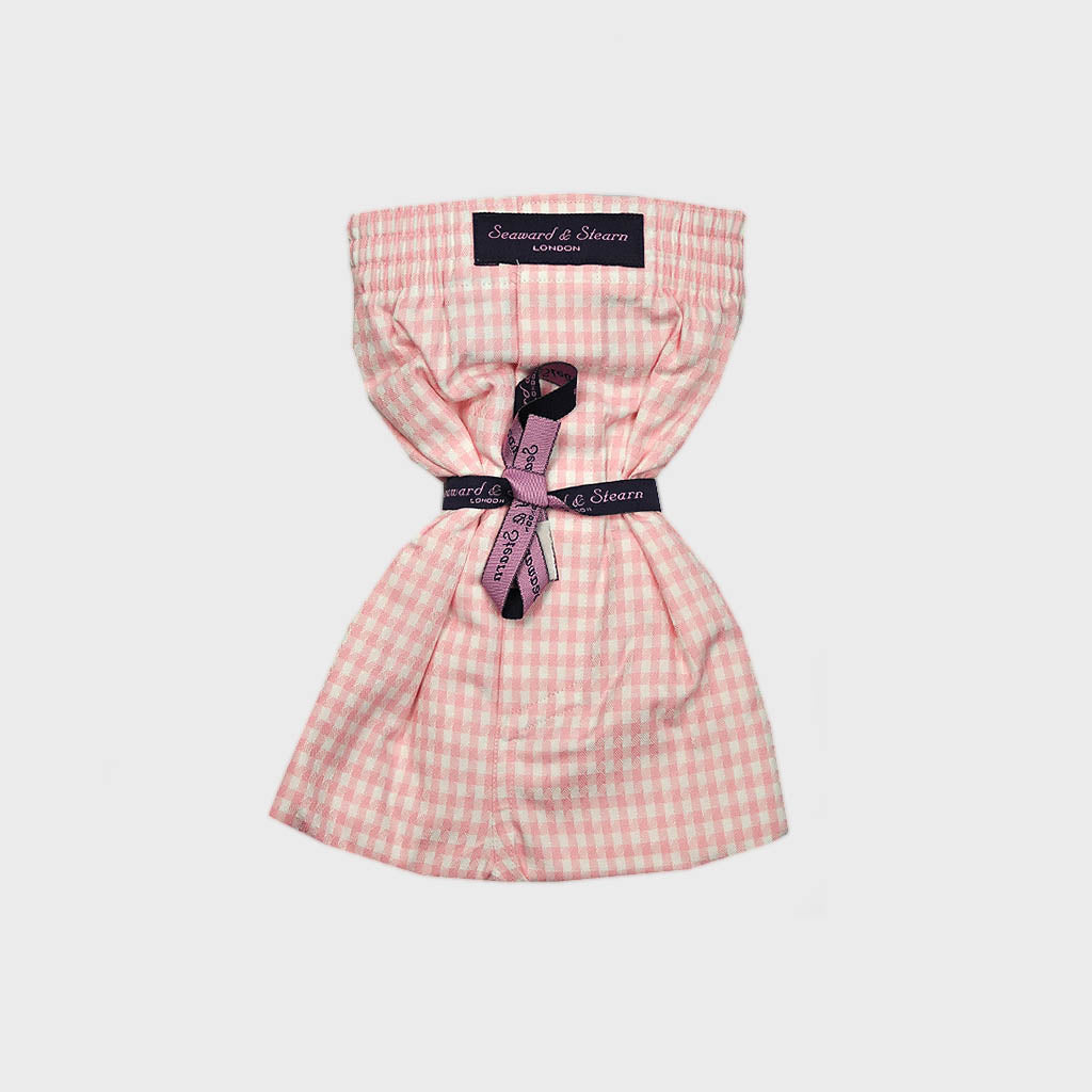 Textured Gingham Check Cotton Boxer Short in Pink