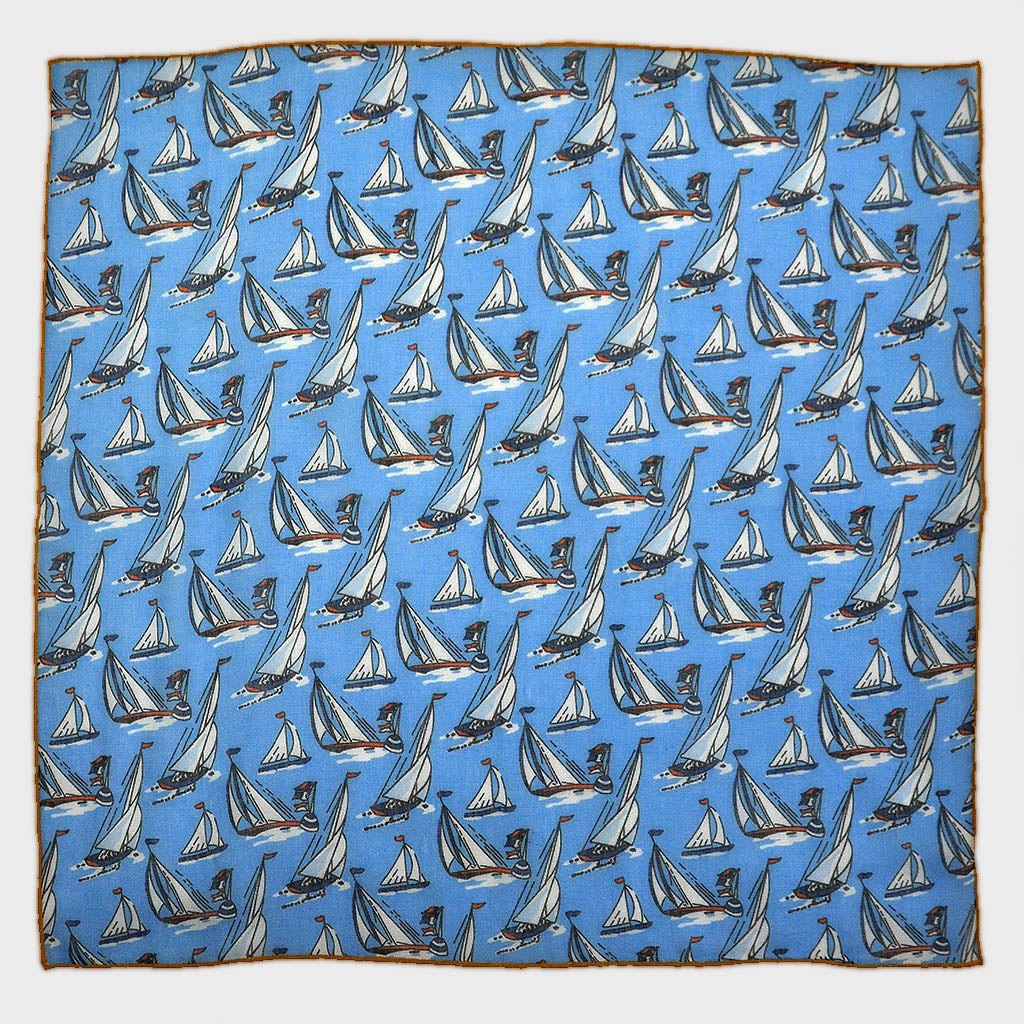 Regatta Cotton & Cashmere Pocket Square in Ocean Blue