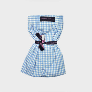 Textured Gingham Check Cotton Boxer Short in Blue
