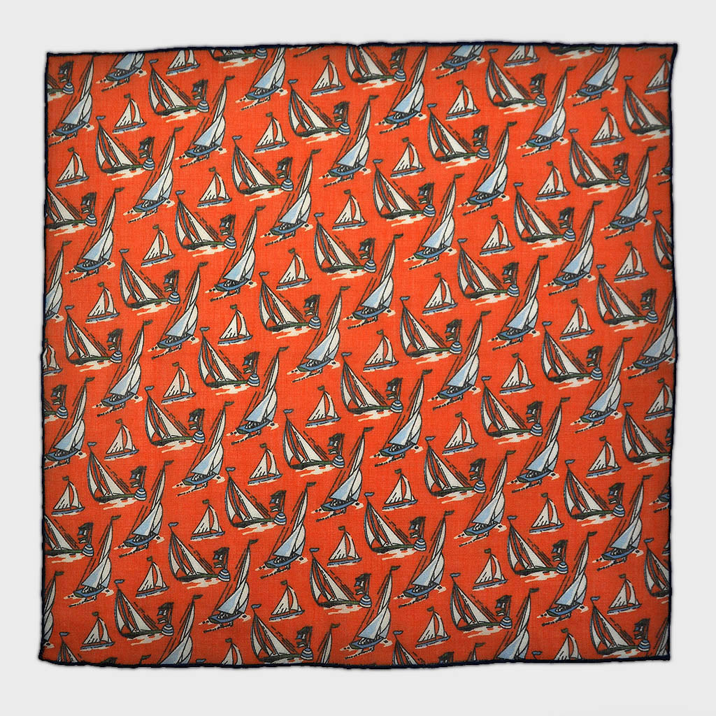 Regatta Cotton & Cashmere Pocket Square in Rose Red