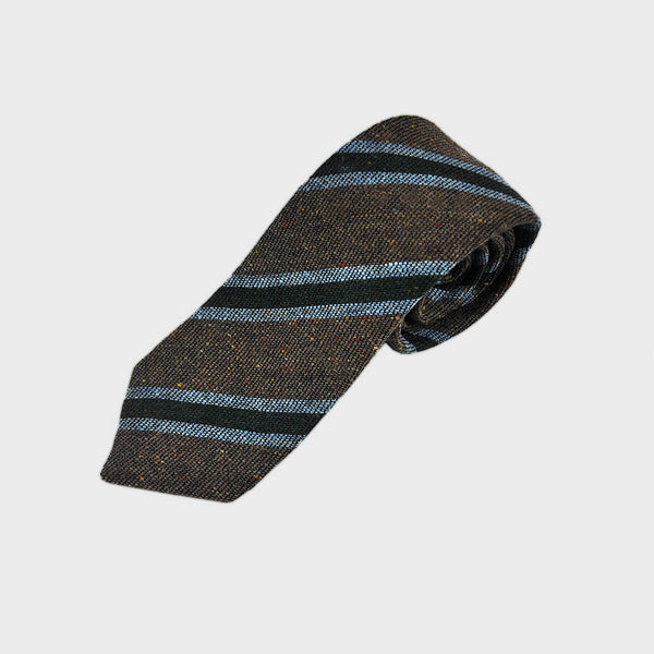 Regimental Stripe Wool Tie in Brown & Blue