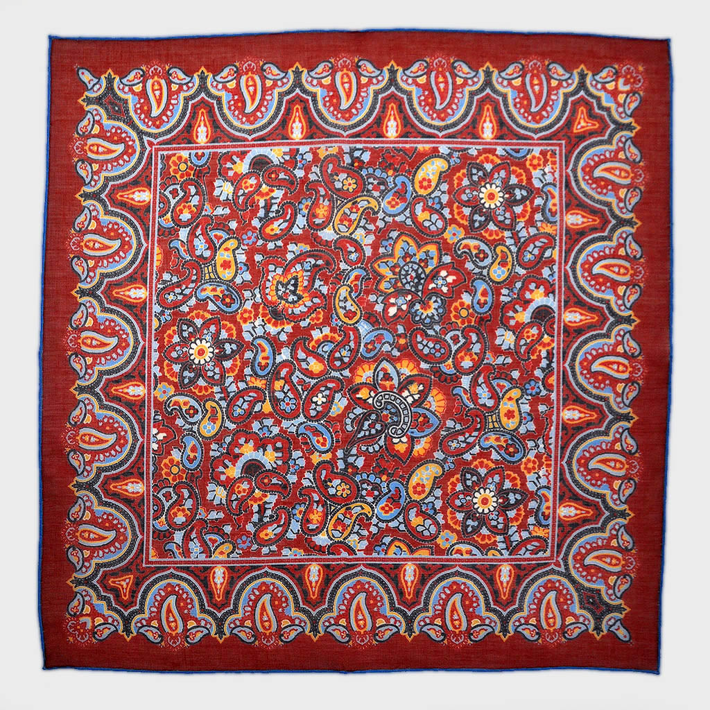 New Paisley Cotton & Cashmere Pocket Square in Burgundy & Blue