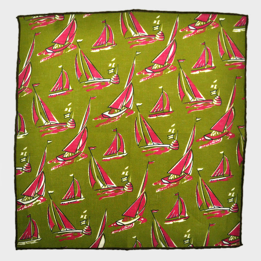Summer Regatta Linen Pocket Square in Olive & Pink