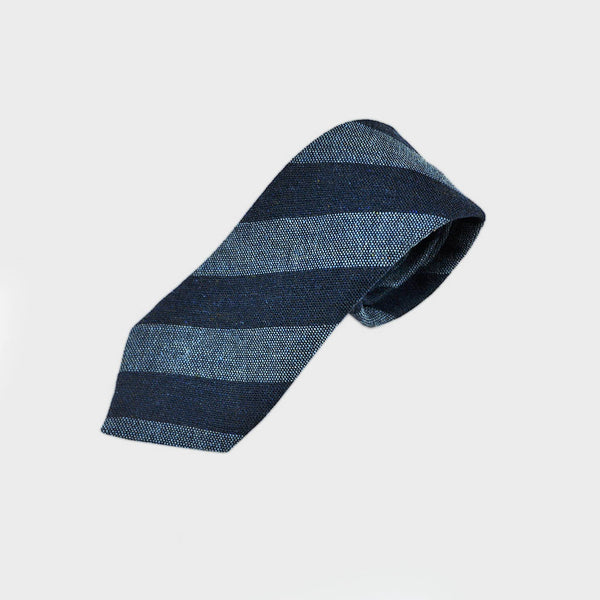 Block Stripes Wool Tie in Blue