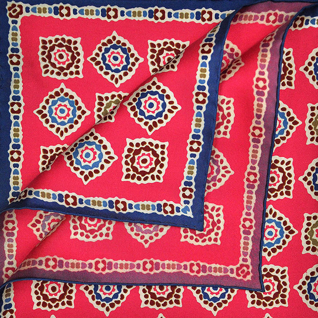 Pink & Blue Floret English Silk Pocket Square