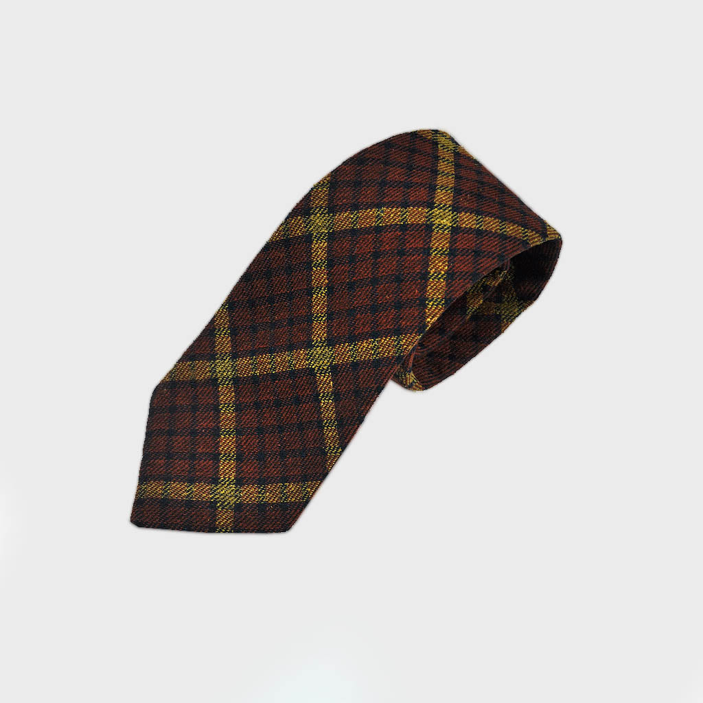 Seasonal Plaid Wool Tie in Earthy Colours