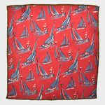 Summer Regatta Linen Pocket Square in Pink & Blue