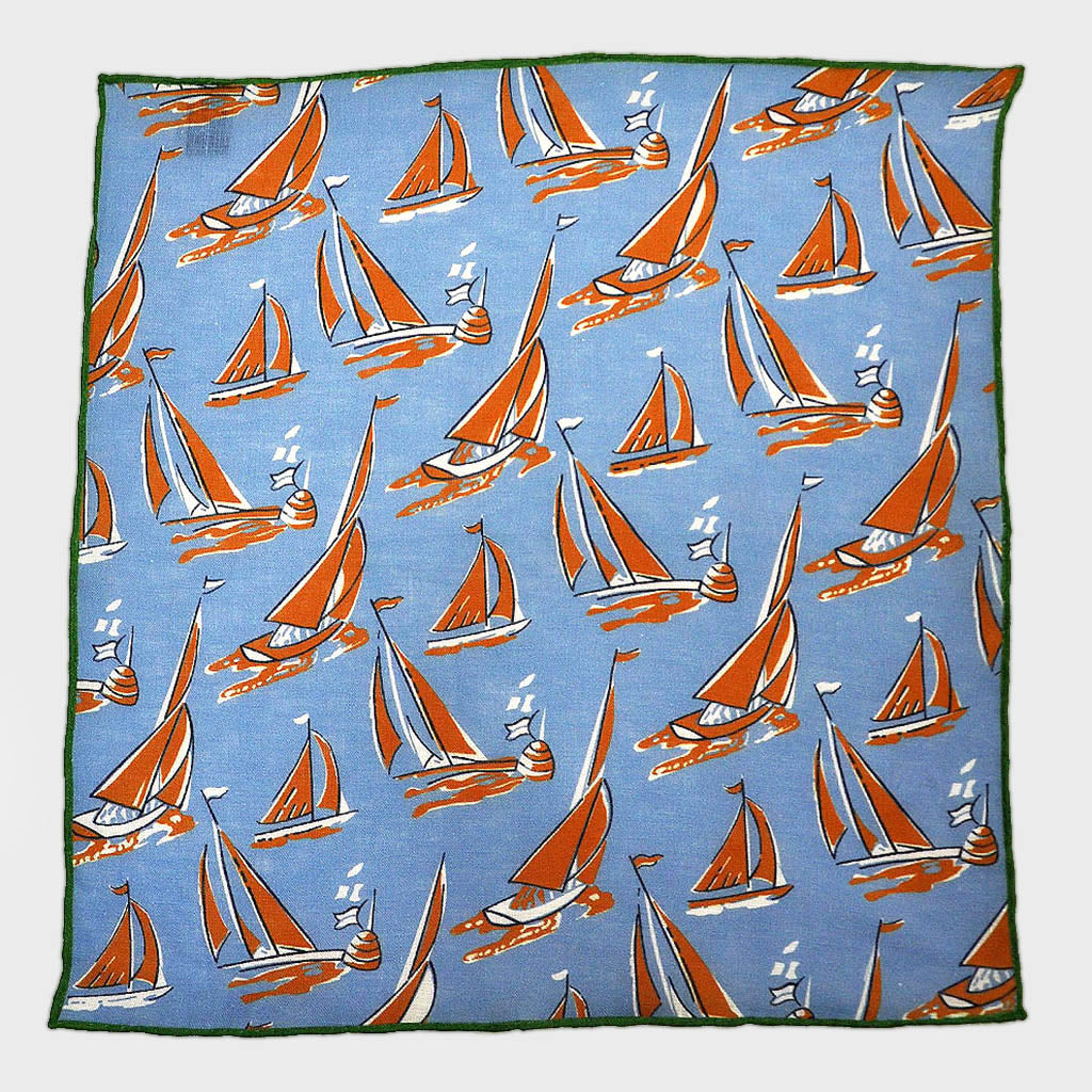 Summer Regatta Linen Pocket Square in Blue & Brown