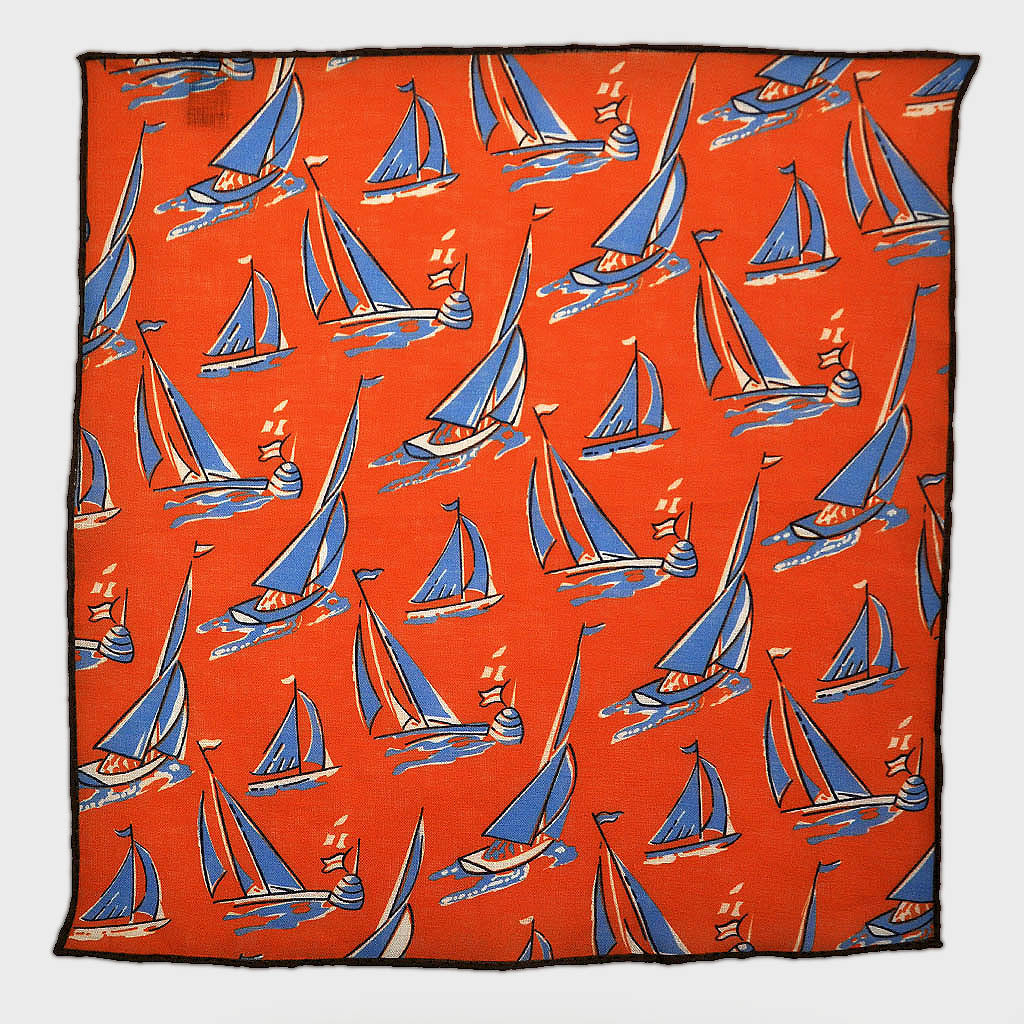 Summer Regatta Linen Pocket Square in Red & Blue